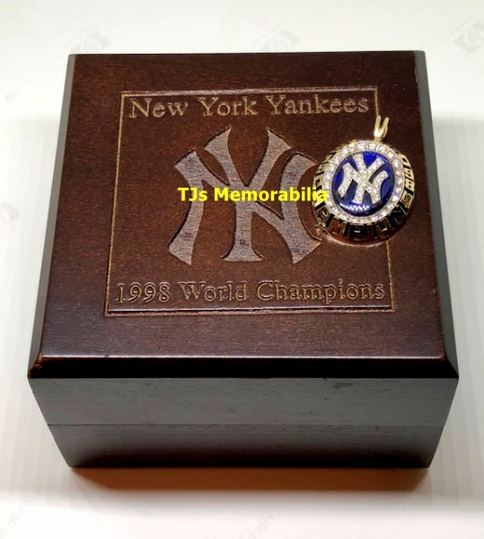 1998 NEW YORK NY YANKEES WORLD SERIES CHAMPIONSHIP RING TOP PENDANT & PRESENTATION BOX