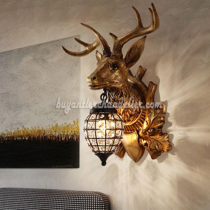 Deer Head Antler Wall Lamps Crystal Hanging Lights Decor