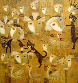 Modern Art Paolo_Cordano_Mixed_Media_on_canvas_dos_gatos_60x56