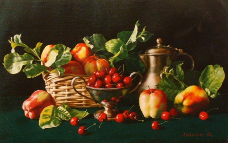 "Boris Leifer ""Still Life With Apples And Cherries""  N151.12500  18"" x 28"""
