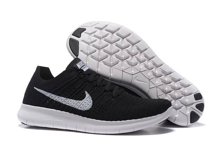 new product 4f38e 511da NIKE FREE FLYKNIT 5.0 BLACK WHITE RUNNING SHOES