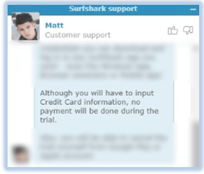 surfshark free trial chat support