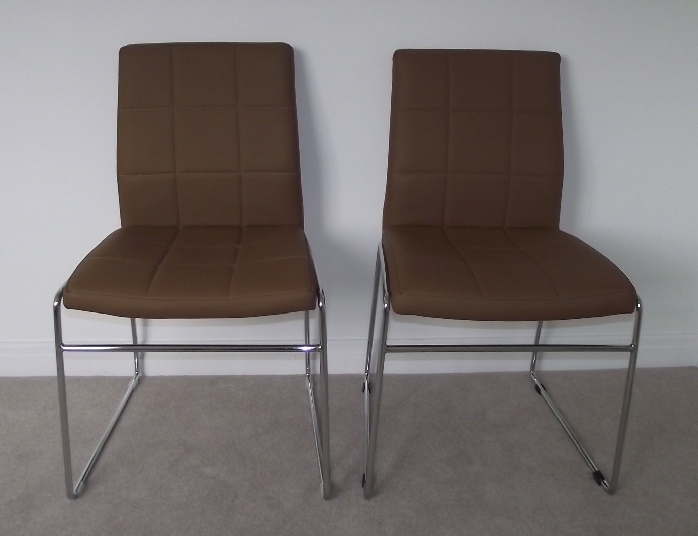 Retro Dining Chair Pair Of Retro Tan Dining Chairs With Chrome Legs Buy