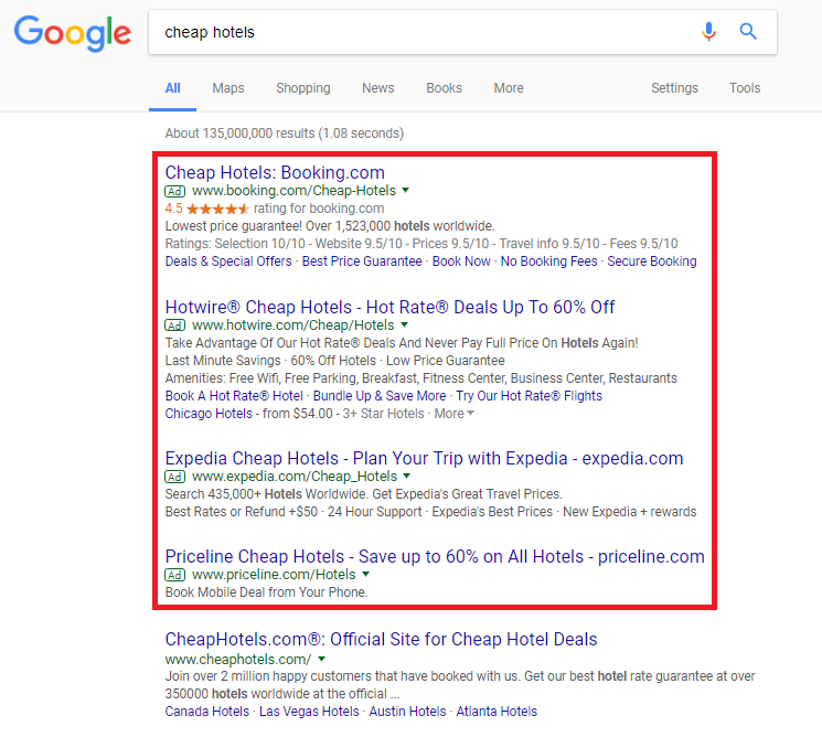 Sample of Google Adwords Search