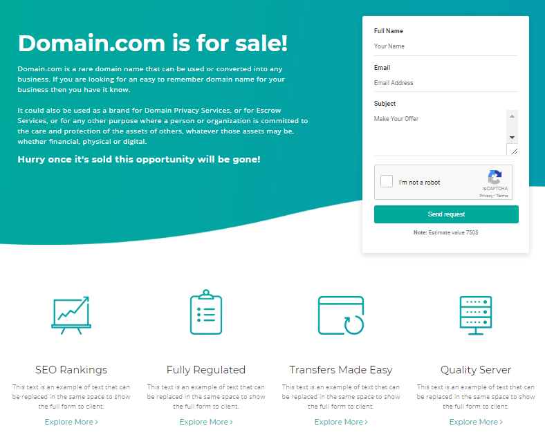 Sales Page for buying and selling domain names