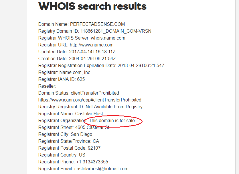 Whois domain for sale