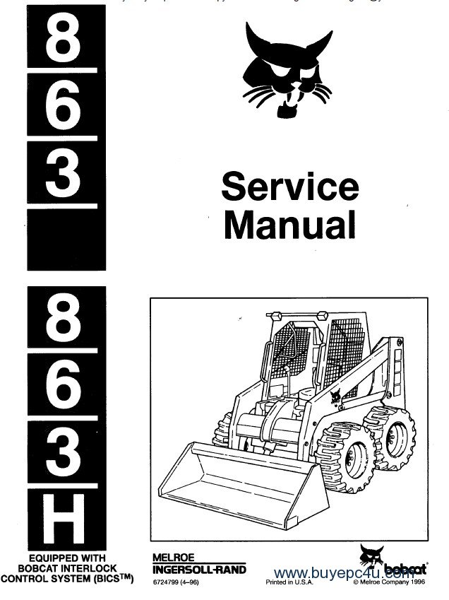 Bobcat 863 & 863H Skid Steer Loader Service Manual PDF