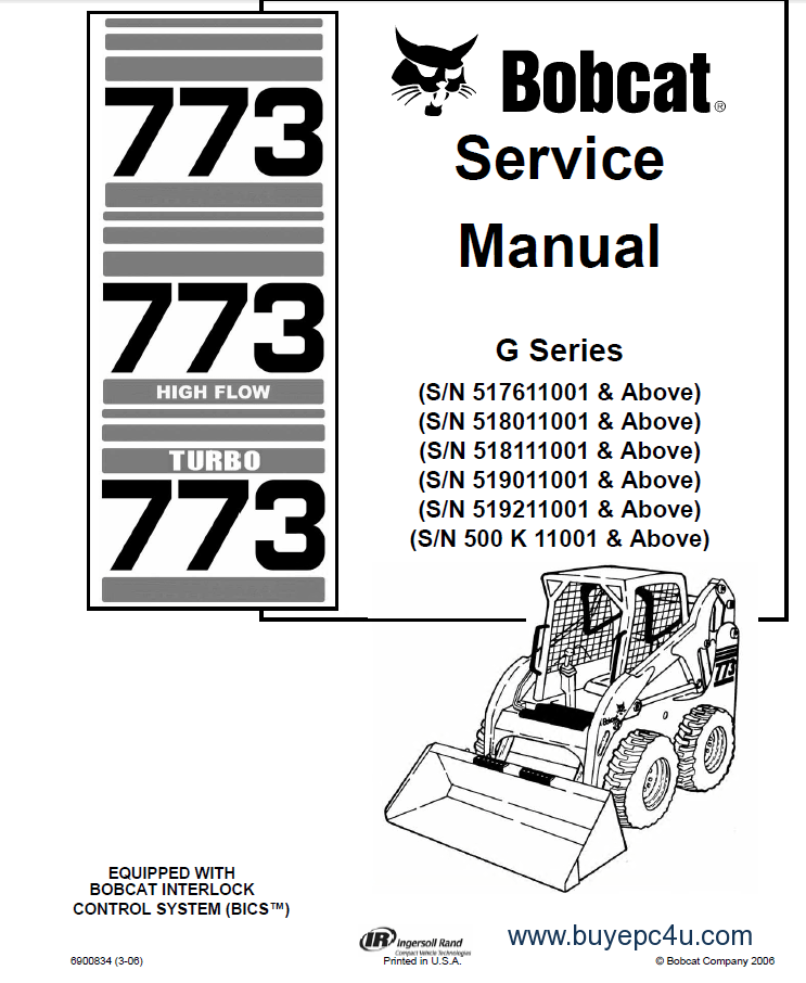 773 Bobcat Loader Series Service Manual PDF