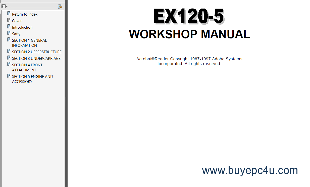 Hitachi EX120-5 Excavator Service Manual PDF