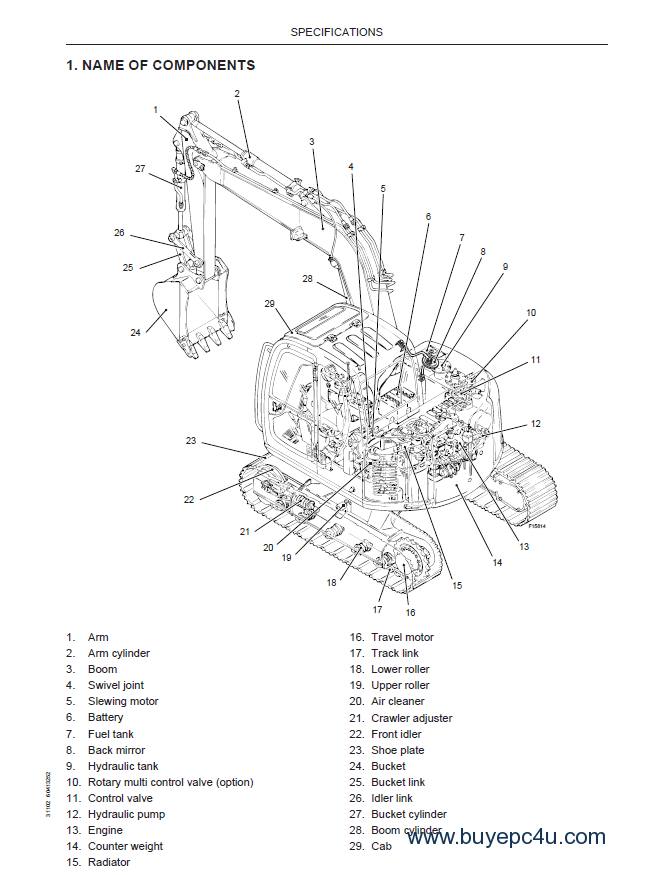 Fiat Kobelco E70SR Evolution Excavator PDF Manual