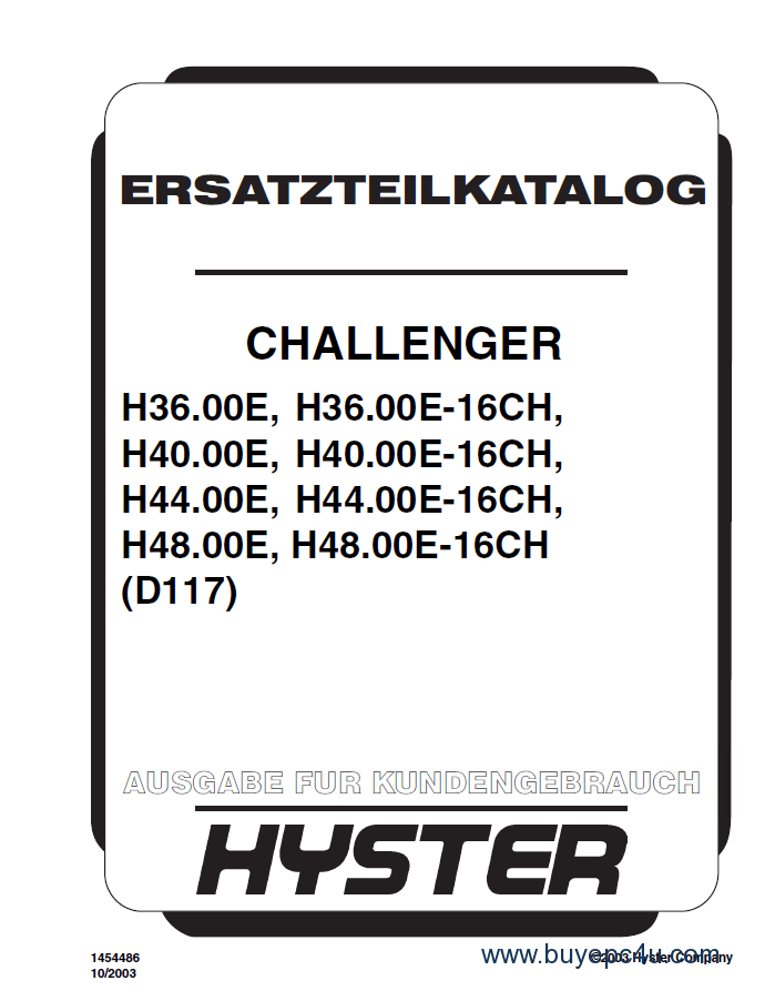 Hyster Challenger (D117) Forklift PDF Parts Manual German only