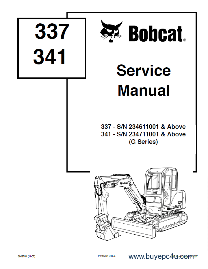 Bobcat 337 341 G-Series Service Manual PDF