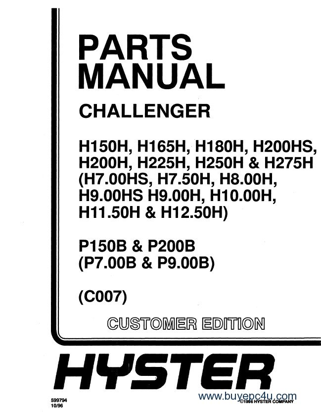 Hyster Challenger C007 Forklift PDF Repair + Parts Manual