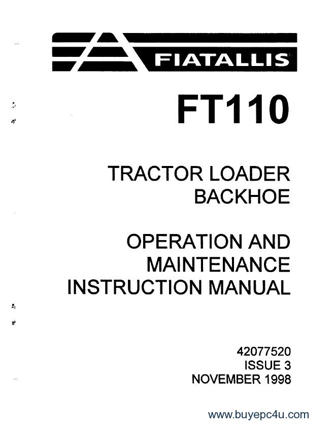 FiatAllis FT110 Tractor Loader Backhoe PDF Manual