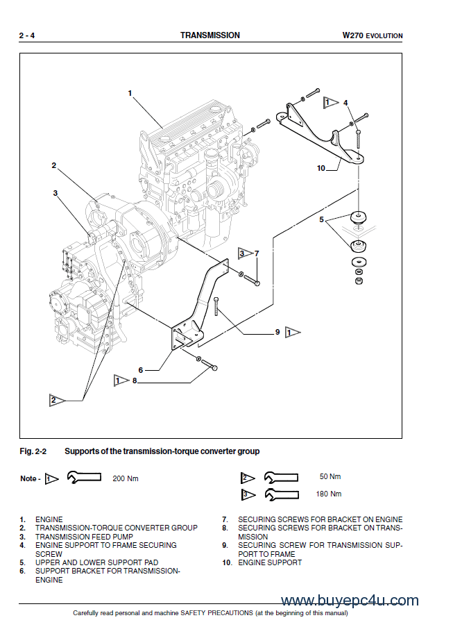 Fiat Kobelco W270 Evolution Wheel Loaders Service Manual