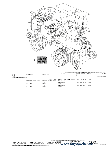 Atlas (TEREX) Excavators Spare Parts Catalog