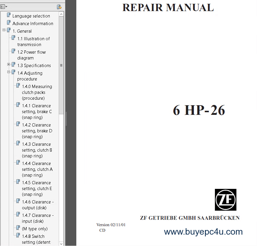 ZF 6HP19, 6HP26, 6HP32 repair manual