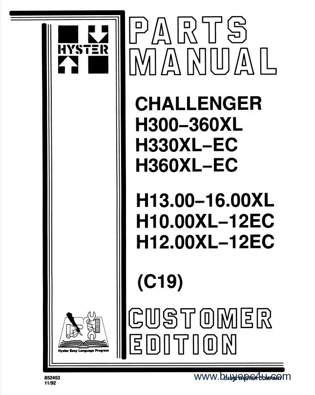 Hyster Challenger (C019) Forklift Service & Parts Manuals PDF