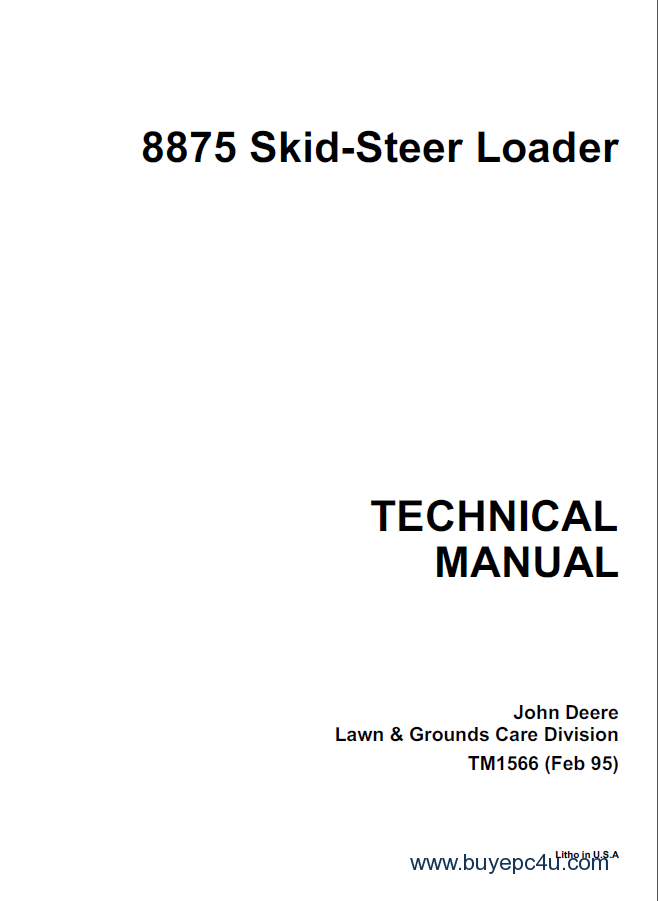 John Deere 8875 Skid Steer Loader PDF Manual TM1566