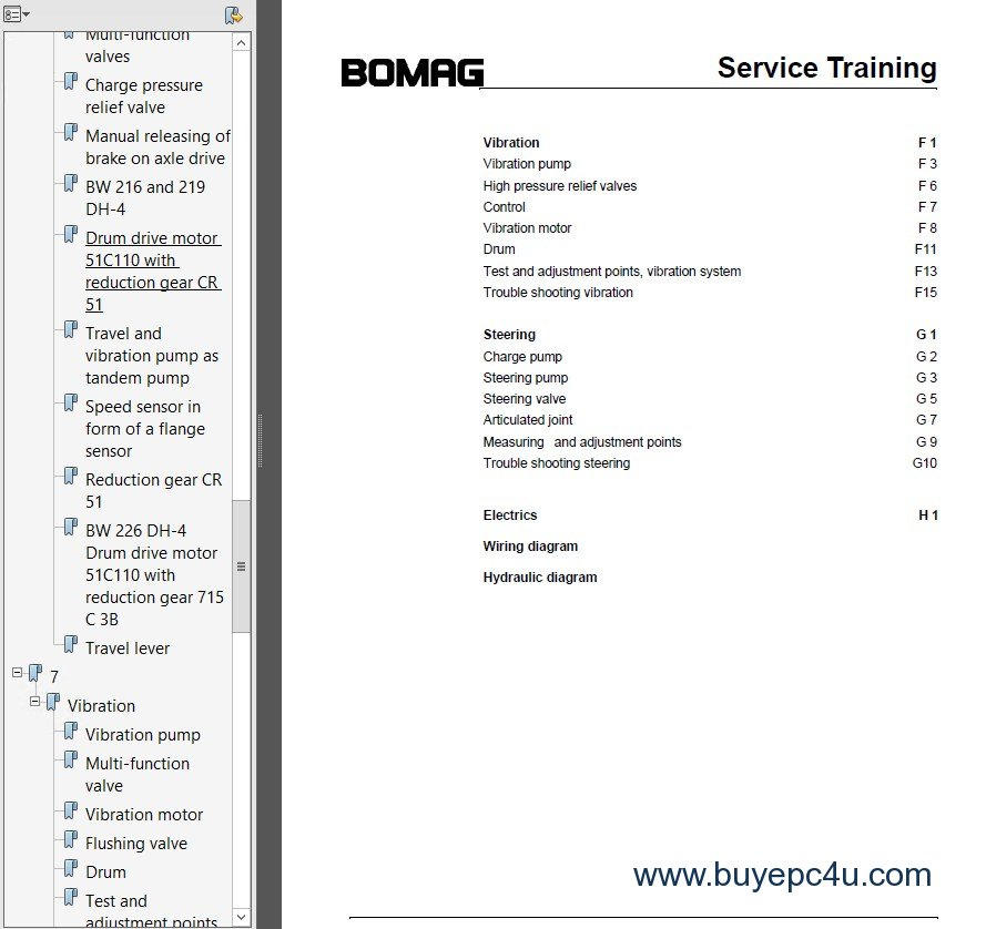 Bomag BW216 /219 /226 DH / PDH-4 Service Training PDF