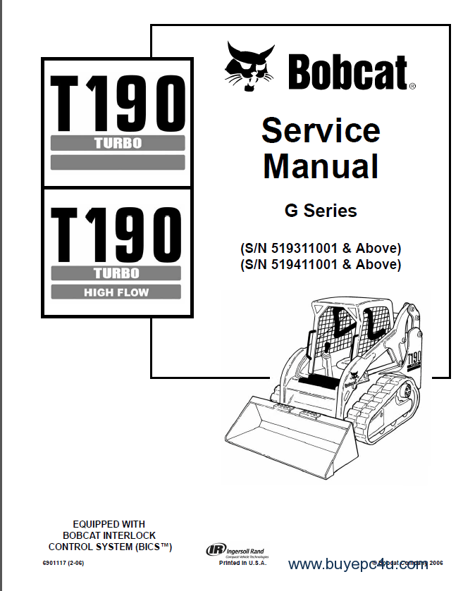 Bobcat T190 Turbo High Flow Track Loader Service Manual