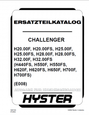 Hyster Challenger (E008) Forklift PDF Parts Manual only GR