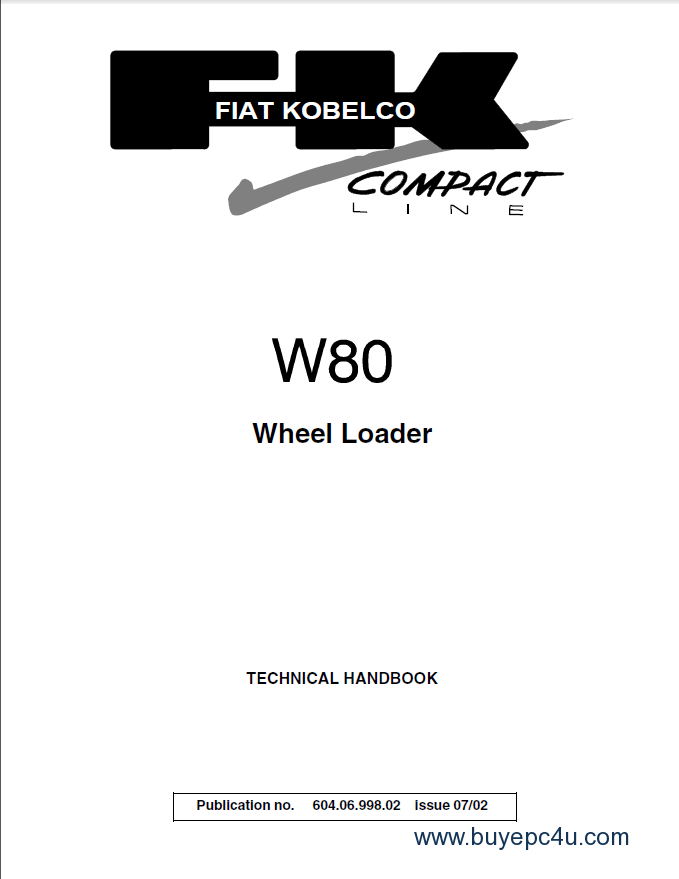 Fiat Kobelco W80 Mini Wheel Loader Technical Handbook PDF