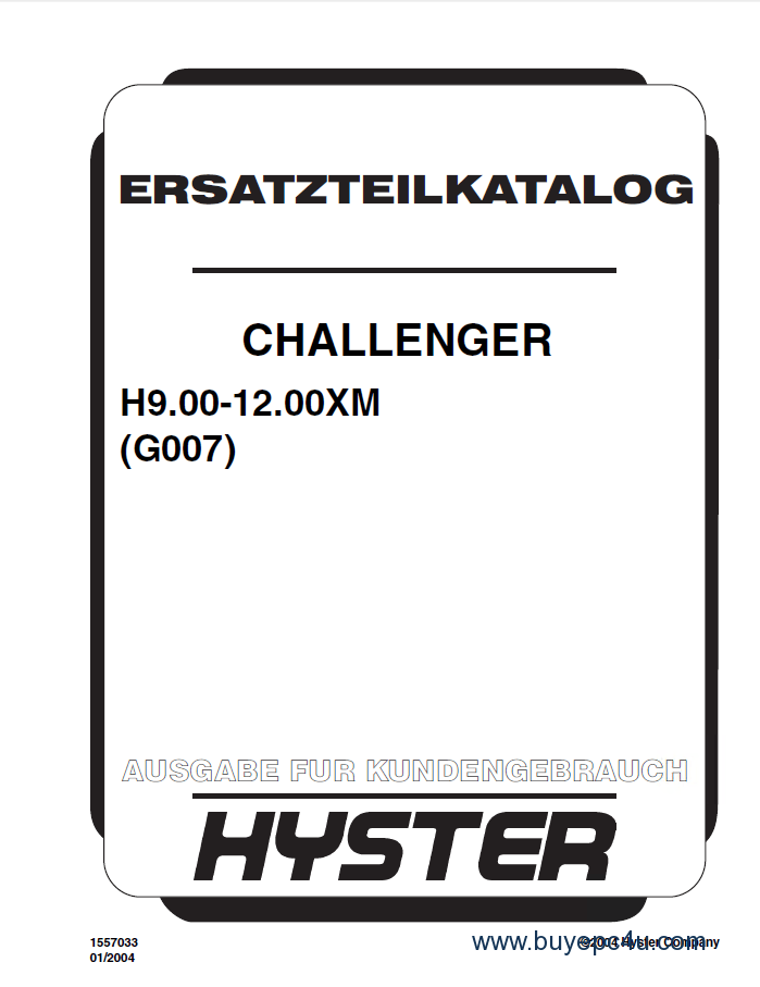 Hyster Challenger (G007) H9.00-12.00XM PDF Parts Manual