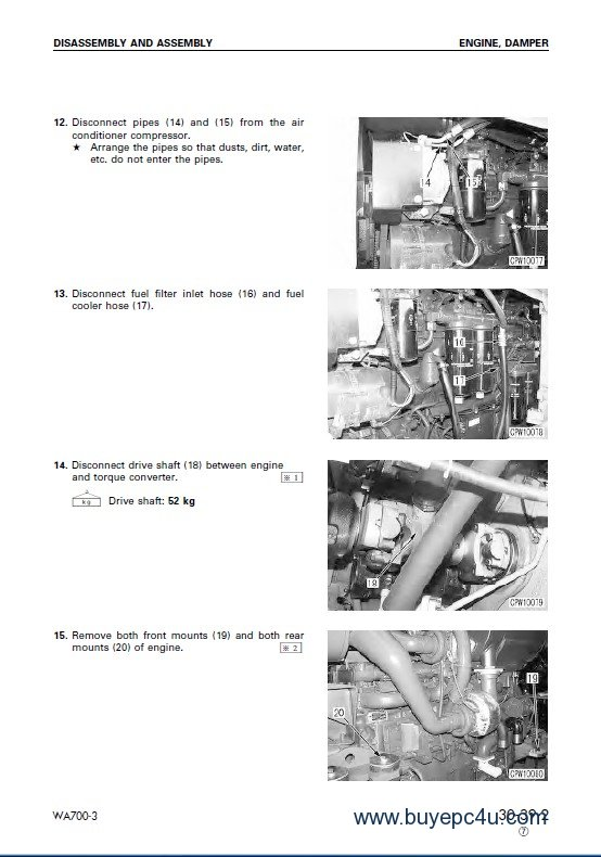Komatsu WA700-3/3D Wheel Loaders Shop Manual PDF