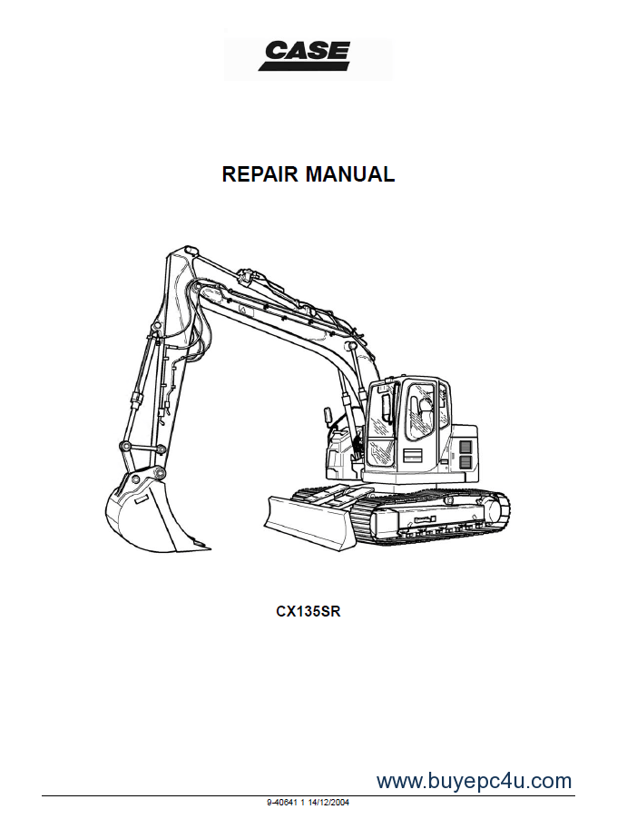 Case CX135SR Crawler Excavator Service Manual PDF