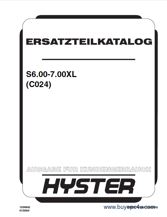 Hyster (C024) S6.00-7.00XL Forklift PDF Parts Manual GR only
