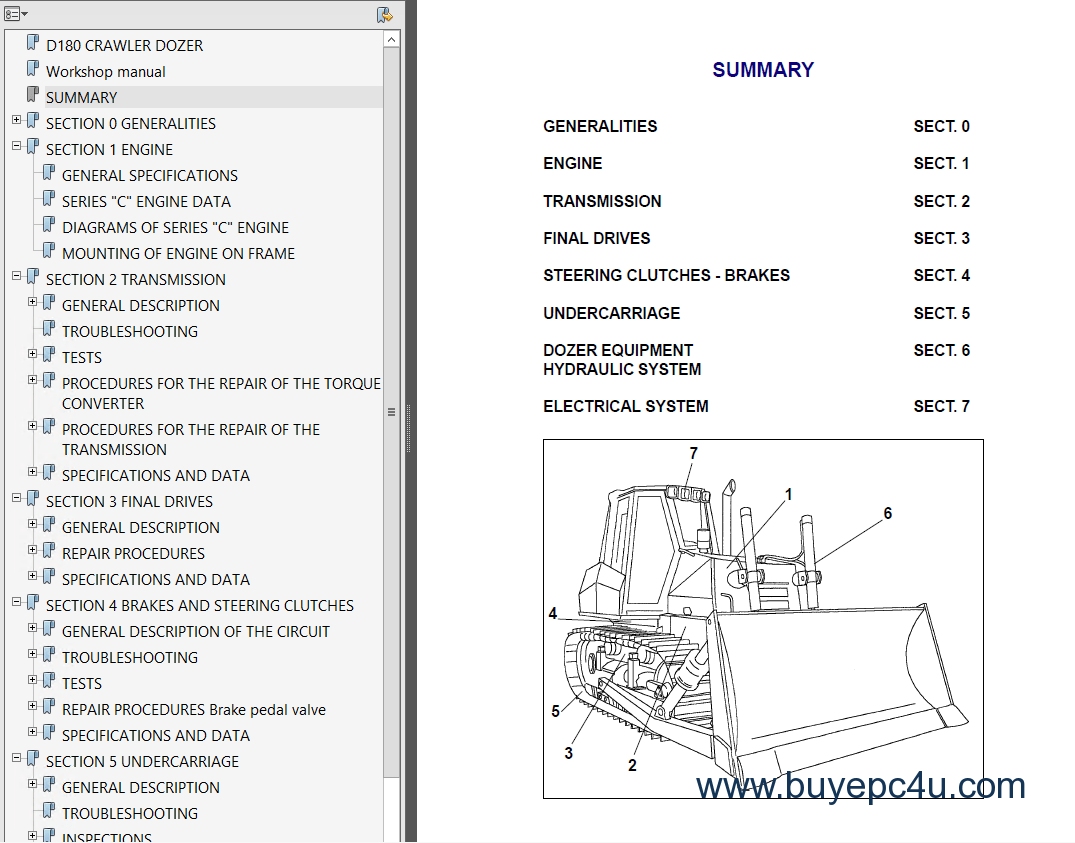 Fiat Kobelco D180 Crawler Dozer Workshop Manual PDF