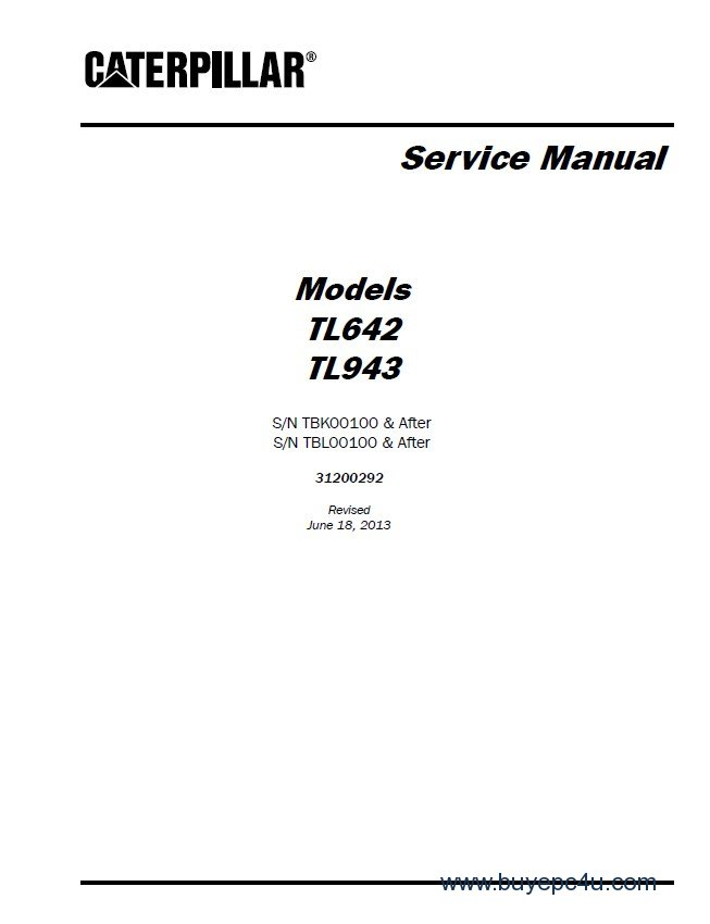 Caterpillar TL642 & TL943 Service Manual PDF