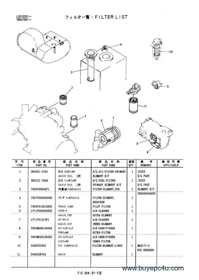 Kobelco SK100-SK100L Mark V Excavators Parts Manual PDF