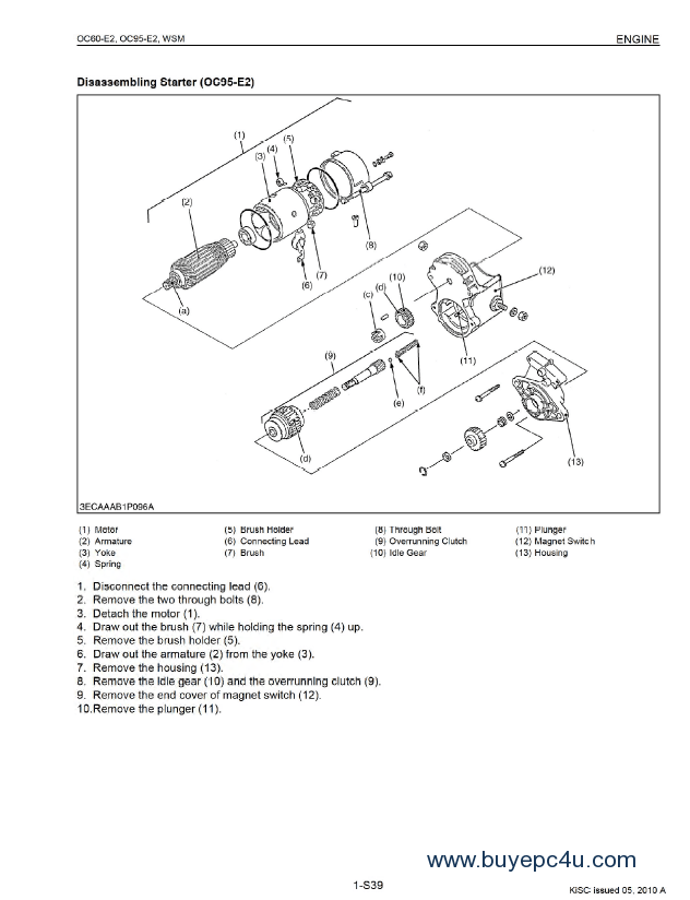 Kubota OC60-E2 OC95-E2 Diesel Engine Workshop Manual