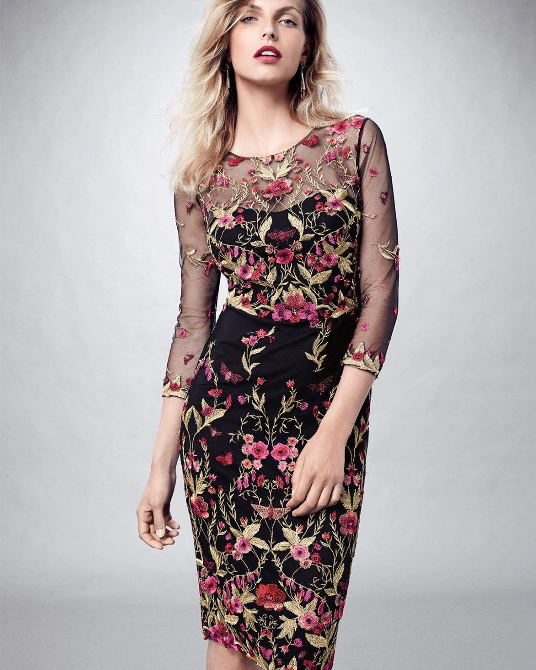 Marchessa Floral Embroidered Sheath Dress