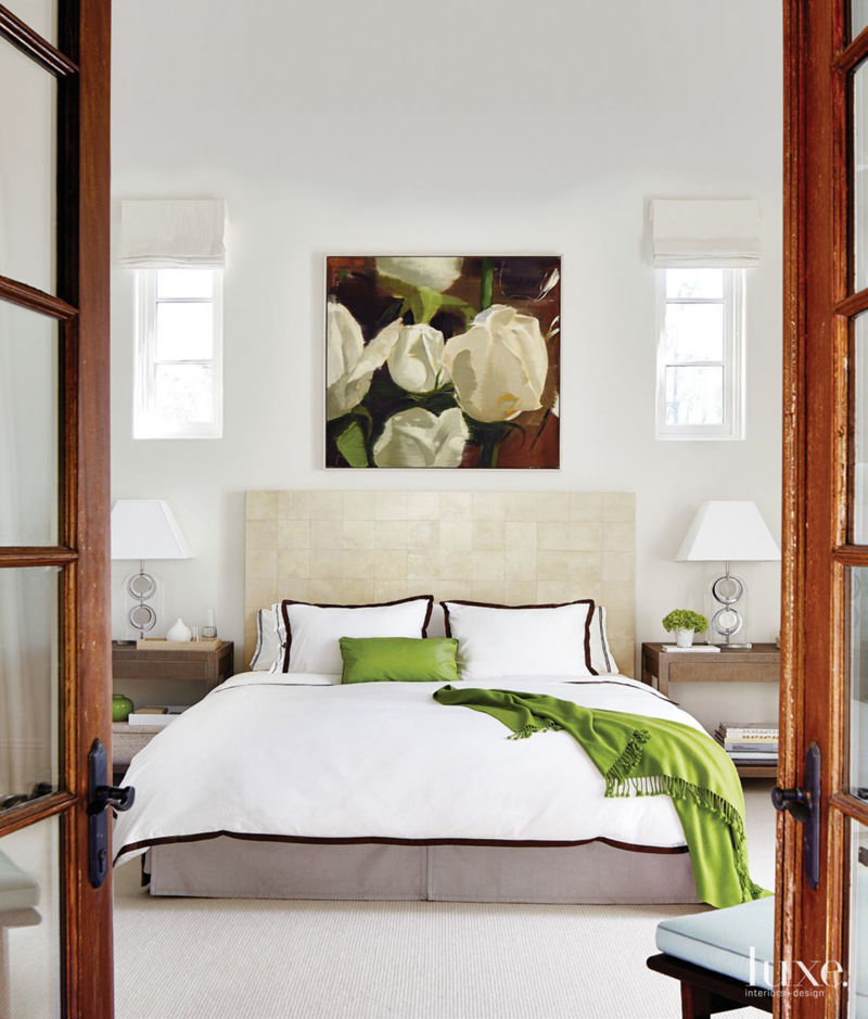 Contemporary Master Bedroom with Green Accents