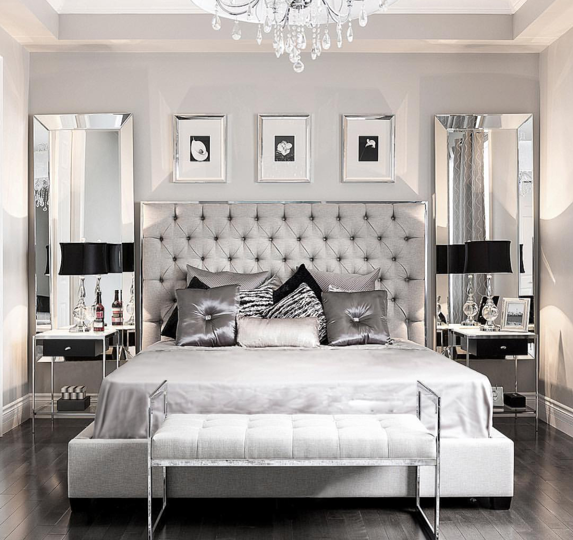 Modern Glam Bedroom | Metalics, Silver & Mirrors in the Bedroom