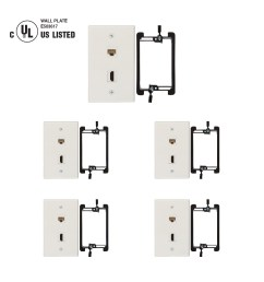 hdmi and cat6 ethernet rj45 wall plate ul listed with single gang low voltage mounting bracket device white kit 5 pack  [ 1200 x 1200 Pixel ]
