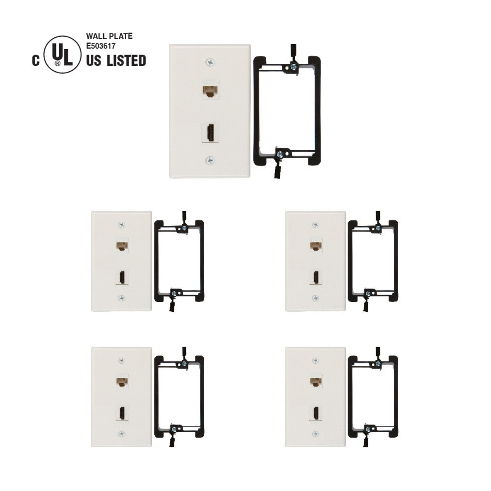 medium resolution of hdmi and cat6 ethernet rj45 wall plate ul listed with single gang low voltage mounting bracket device white kit 5 pack