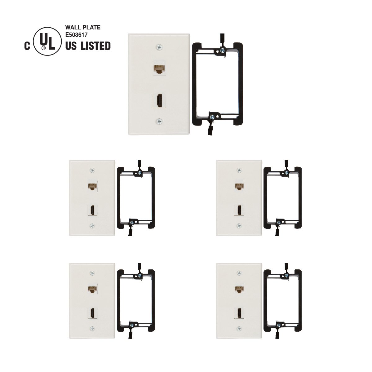 hight resolution of hdmi and cat6 ethernet rj45 wall plate ul listed with single gang low voltage mounting bracket device white kit 5 pack