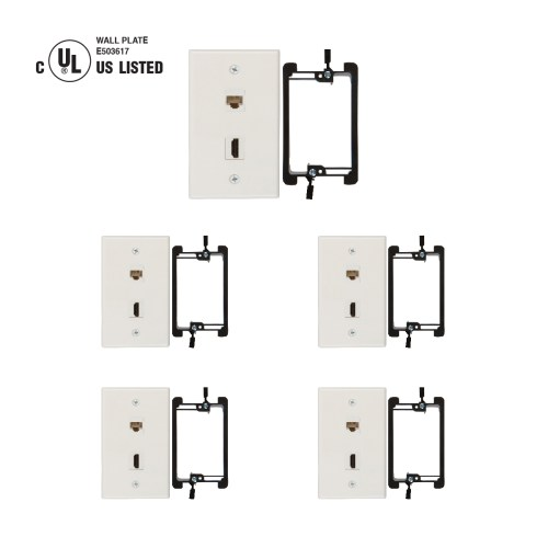 small resolution of hdmi and cat6 ethernet rj45 wall plate ul listed with single gang low voltage mounting bracket device white kit 5 pack