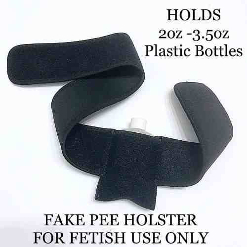 A black elastic belt that is velcro adjustable to hold bottles of fake pee.