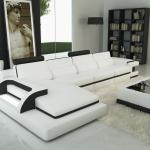 Divani Casa 6122c Modern White And Black Bonded Leather Sectional Sofa Buy Furniture In La