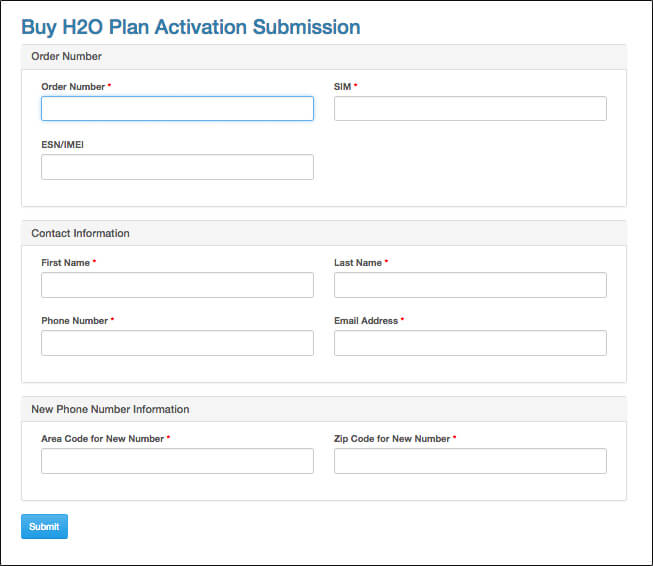 image of Activate H2O Wireless activation submission