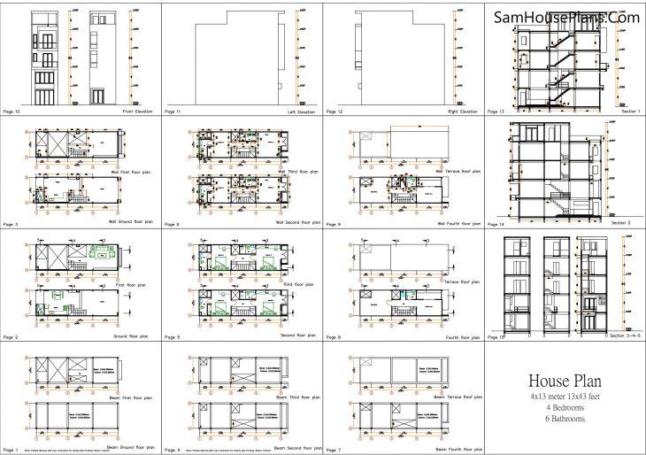 Narrow House Design Plan 4 x 13 Meter all