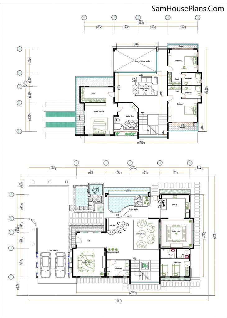 4 Bedroom Home Plan 13.8x19m floor plans