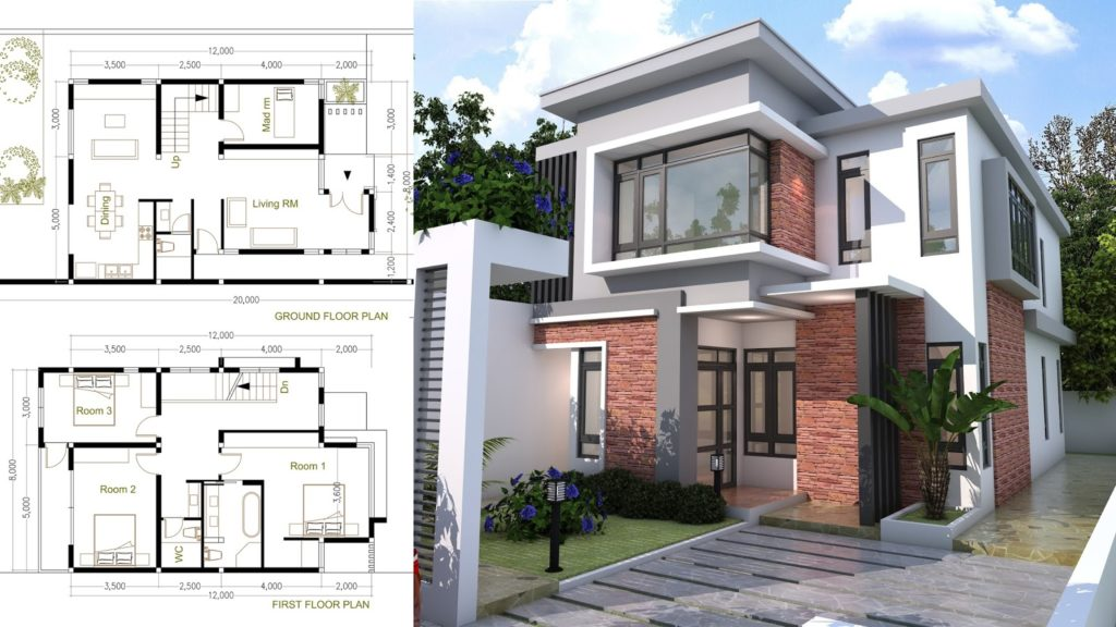 4 Bedroom Modern Home Plan Size 8x12m - Samphoas.Com