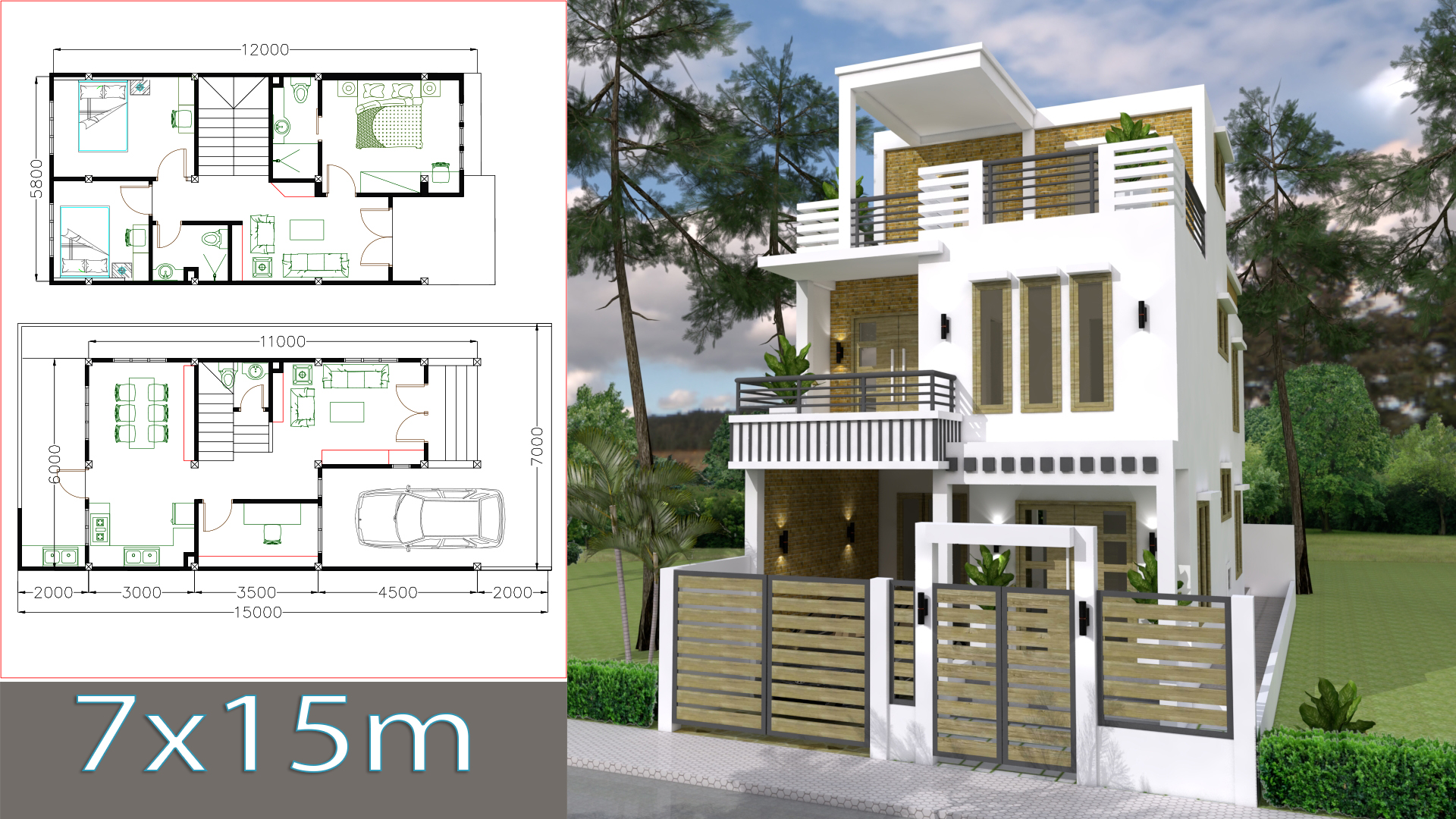 Sketchup home design plan 7x15m with 3 bedrooms