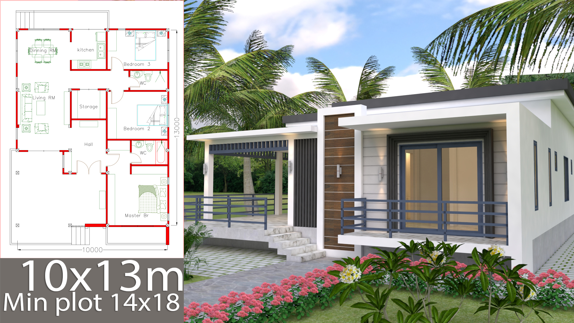 Sketchup Home Design Plan 10x13m with 3 Bedrooms ...